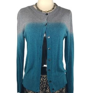 Cardigan Sweater | Grey & Blue Gradient | Buttons